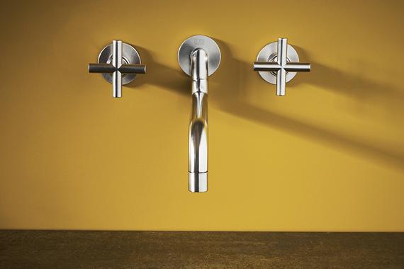 Boncquet cuisine moderne avec un robinet sortant du mur, kraan uit de muur, moderne keuken